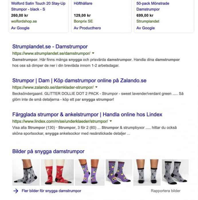 Bilder av damstrumpor från Define Me i sökresultatet hos Google.