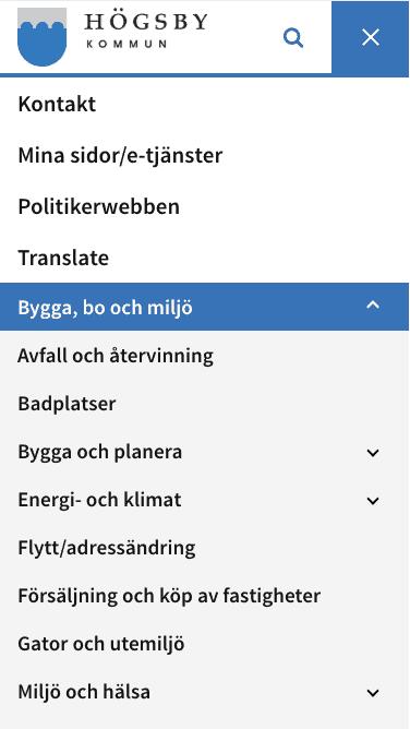 Högsby kommuns hemsida har en snabb och lättnavigerad mobilmeny.
